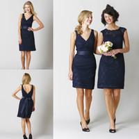 alternative skirt - 2014 Short Black Navy Lace Beach Garden Bridesmaid Dresses Mixed Order Mini Sheath Pencil Skirt Elegant Alternative Bridal Reception Gowns