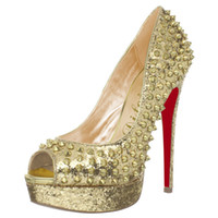 Cheap Noble Golden High Heels Cheap Women Leather Shoes Stiletto Heel Sequin Rivets Platform Metallic Decoration European And American Fish Mouth