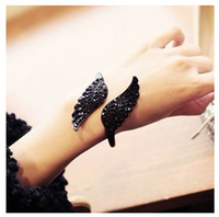 affordable charm bracelets - mixed order Fashion Affordable Bracelet Jewelry Vintage Accessories Black Crystal Wing Cuff Bangle