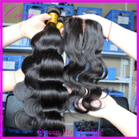 Cheap Body wave middle part silk base closure with hair bundles brazilian virgin human hair weaves 4pcs lot natural color 5A quality