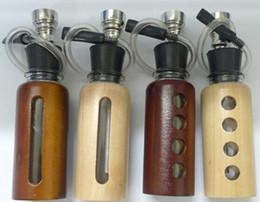 Wholesale 12pcs mini glass water pipe glass bong wooden outside mix designs