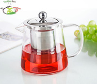 Wholesale Tea Pot QF Conic Shape fl oz ml Heat Resisting Clear Glass Flower Teapot Coffee Water Tea Pot with Stainless Steel Filter Infuser Lid