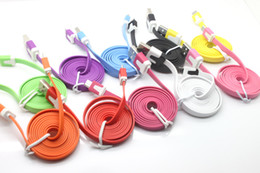 Wholesale Mobile phone Cable M FT MICRO USB V8 Cable Flat Sync Noodles Data Sync Charging Cable for Mobile cell phone