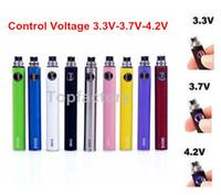 Wholesale EGO EVOD Variable Voltage Battery Button Control Voltage V V V E Cig Battery mAh mAh mAh