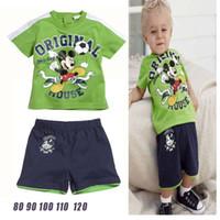 Wholesale Summer boys cartoon sports suit piece set Mickey t shirt shorts Good quality children s clothing set