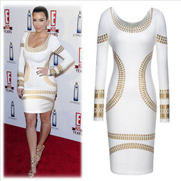 Wholesale European Style Winter Fall Long Sleeve O Neck Print Women Dress Hot Sale Sexy Bodycon Dress With Gold Foil