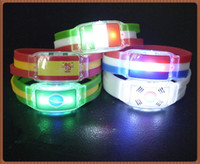 Wholesale World Flags Bracelet LED Light Sticks Electronic LED Luminous Bracelet Wristbands Wrist The Brazilian World Cup Souvenirs Outdoor Sport