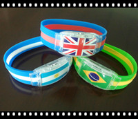 Wholesale 2014 Brazil World Cup Bracelet LED Light Football Fans Souvenirs Sticks Electronic LED Luminous Bracelet Wristbands Wrist PP Bag Packaging