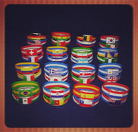 Wholesale 2014 Brazil World Cup Football Fans Souvenirs LED Flag Bracelet Wrist Strap with Famous National Team Logo Football Fans Souvenirs