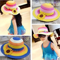 Wholesale wwjsParent Child rainbow hat beach hat straw sun hat visor big brimmed sun hat folding along