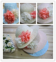 Wholesale wwjsThe new Korean version of the big flower children s hat brimmed straw sun hat beach hat paper braid