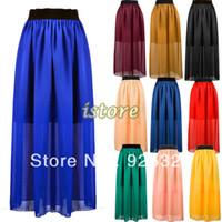 Cheap 2013 summer New Fashion Women's Chiffon Pleated Retro Bohemian Full Long Maxi Skirt High Elastic Waist Skirt 10 Colors 14448