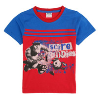 Wholesale fashion children clothes cartoon Monsters University printed summer tops cotton fabric boys t shirts short sleeve red shirt