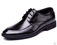 Male elevator shoes men's 7 7cm male elevator leather busine...