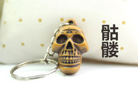 Wholesale 2014 New Cheap Promotion Festival Gift Wood Skull Keychain keyring Chain Ring