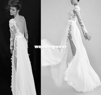 Cheap Wholesale-New 2014 Summer Wedding Dresses Berta Bridal With Jewel Sheer Long Sleeve Backless Lace Side-slit Wedding Dress