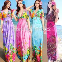 Cheap New Womens V-Neck Long Maxi Party Evening Summer Floral BOHO Beach Dress Sundress