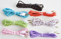 Wholesale Braided Fabric Audio AUX Cable M FT Colorful mm Male to Male for iPhone G S S C Samsung Galaxy S5 S4 i9500 Note3 N9000