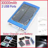 Wholesale Solar Panel Charger W dual USB port A A mAh Mobile Power Bank Backup External Battery Charger For all cell phone Nokia Samsung