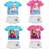 Cheap Wholesale - 2014 new summer girls frozen sets children short sleeve+short pants suits kids baby clothing