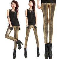 Cheap Free shipping 2013 Europe and America Imitation leather gilding crack serpentine printing leggings nine minutes pants wholesale