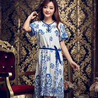Cheap fashion girl Sexy Silk Lace Dressing summer Sleepwear China porcelain pattern home nightwear