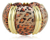 animal shape elastic bracelet - Fashion Jewelry statement wild style Leopard pattern pumpkin shaped wide elastic bracelets