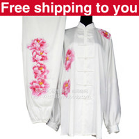 Wholesale Chinese Tai chi clothing Kungfu uniform taiji sword suit performance exercise painting pink peony women little girl children