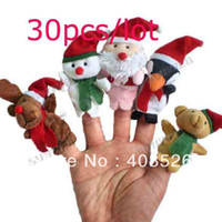 Cheap 30Pcs Christmas Santa Claus Soft Plush Puppet Finger Toys Educational Story-telling baby Toy For Children free shipping 8312