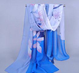 Fashion Brand Design Women Scarf Chinoiserie Chiffon Scarves Gradient Fashion Lady's Scarf Lily Floral Pattern Scarfs