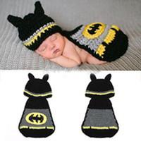Boy Winter Newborn Hat Free Shipping Latest Batman Design Baby Crochet Photography Props Infant Newborn Handmade Hats Costume 1set