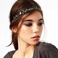 Wholesale Fashion Bohemian Women Metal Head Chain With Emerald Jewelry Forehead Dance Shiny Diamond Headband Piece Wedding Hair Band