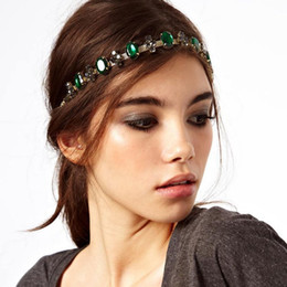 Wholesale Fashion Bohemian Women Metal Head Chain With Emerald Jewelry Forehead Dance Shiny Diamond Headband Piece Wedding Hair Band