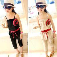 Cheap New 2014 Retail New Summer Baby Kids Girls Clothing Flower Cotton Overalls Suspenders Children Set Size JB-QA06