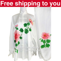 Wholesale Chinese Tai chi clothing Kungfu uniform taiji sword suit performance exercise sets painting peony women little girl children