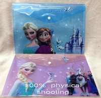 Wholesale 9 off IN STOCK High quality Fashion Frozen Anna Elsa New Adventures plastic file folder Pencil bags drop shipping cs MC