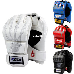 Hot Sale Half Finger Boxing Gloves Kung Fu Fighting Martial Arts Gloves Made of High Quality PU leather Free Shipping