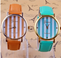 Wholesale Foreign trade sales new chromatic stripe table leisure fashion PU Geneva watch