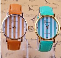 geneva watches - Foreign trade sales new chromatic stripe table leisure fashion PU Geneva watch