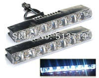 Cheap Free shipping 2X Car Truck Super Bright Euro 6 LED Daytime Running Lights Fog Lamps Kit DRL