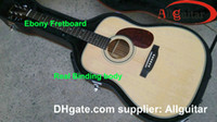 Wholesale Natural Acoustic Guitar Dreadnought Ebony Fretboard W O Fishman pickups Guitar AAA Spruce wood China Acoustic Guitar