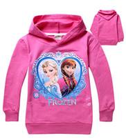 Unisex Spring / Autumn Hooded Wholesale- Frozen Baby Girls 2-8Yrs Elsa Anna Princess Hoodie Long Sleeve Terry Hooded Jumper Cartoon Hoodies Outerwear Kids Clothing