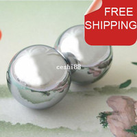 baoding balls - Polished baoding iron ball mm chime health ball chrome Simple design for daily use Red paper box Optional mm mm available