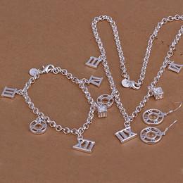 Wholesale S114 silver jewelry set fashion jewelry set Round Roman Earrings Three Piece Jewelry Set cxnalouaug