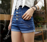 Cheap New 2014 single breasted roll-up s hem brand ladies jeans denim shorts denim skinny ripped high waist jeans