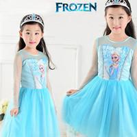 Cheap New Hot Sale 2014 Custom-made Movie Cosplay Dress Summer Girl Dress Costume Princess Elsa Dress from Frozen for Children