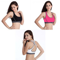 Wholesale Women s Sexy Double Running Yoga Seamless Racerback Back Cross Fashion Sports Half length Bra Underwear Fitness Tennis Vest