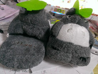 Wholesale Totoro Slippers Gray My Neighbor Totoro Figures doll cartoon plush slippers inch Adult Slippers