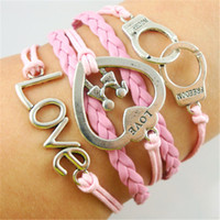 best handcuffs - Infinity Bracelets couple handcuffs peach heart love bracelet is hand made infinite combination of symbols Best Chosen Gift