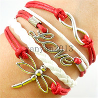 best preparation - 2016 new Infinity Bracelets word love red dragonfly bracelet combination of manual preparation infinity bracelet Best Chosen Gift Custom